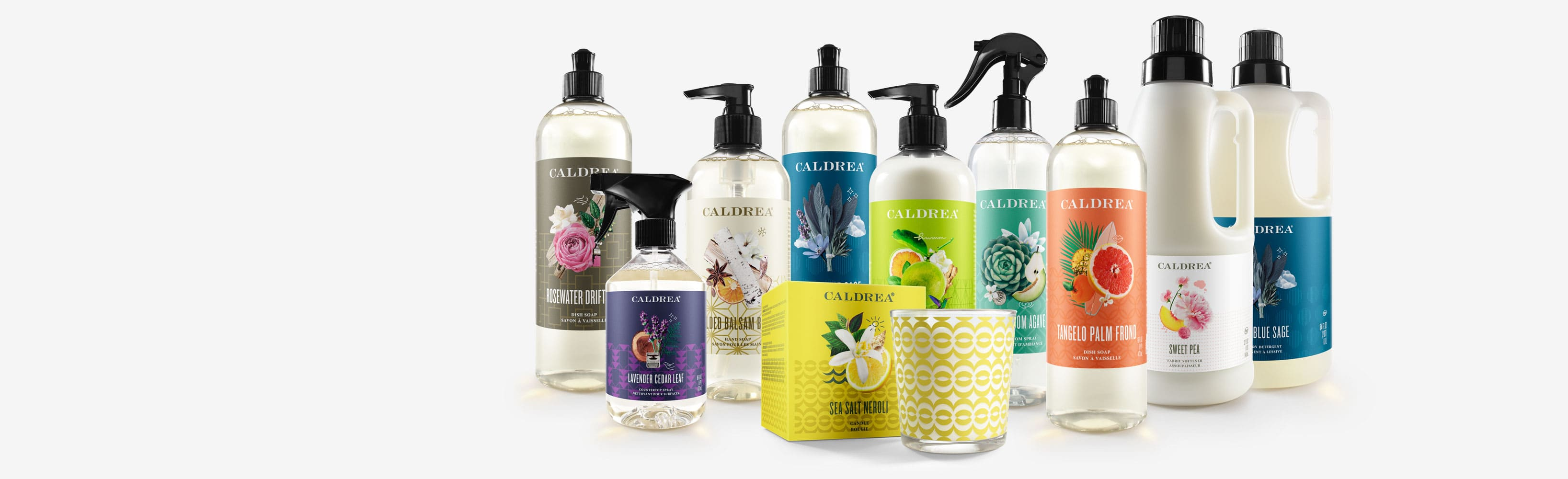 Our dish soaps come in scents such as: Lavender Cedar Leaf, Tangelo Palm Frond, and more.